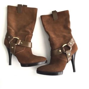 BCBG Sirlo Brown Mid Shin Heeled Boots Suede 6.5